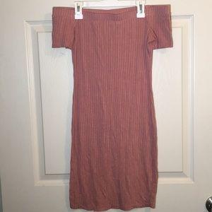 Pink ribbed off the shoulder dress